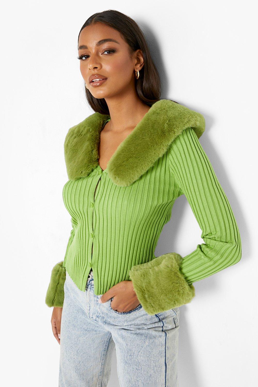 70s Clothes | Hippie Clothes & Outfits Womens Faux Fur Trim Cardigan - Green - M $70.00 AT vintagedancer.com