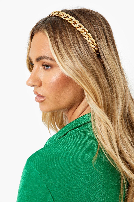 70s Headbands, Wigs, Hair Accessories Womens Chain Metallic Headband - Gold - One Size $12.00 AT vintagedancer.com