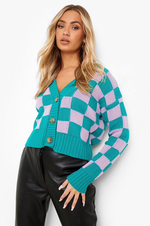 Vintage Sweaters, Retro Sweaters & Cardigan Womens Bright Flannel Crop Cardigan - Green - M $44.00 AT vintagedancer.com