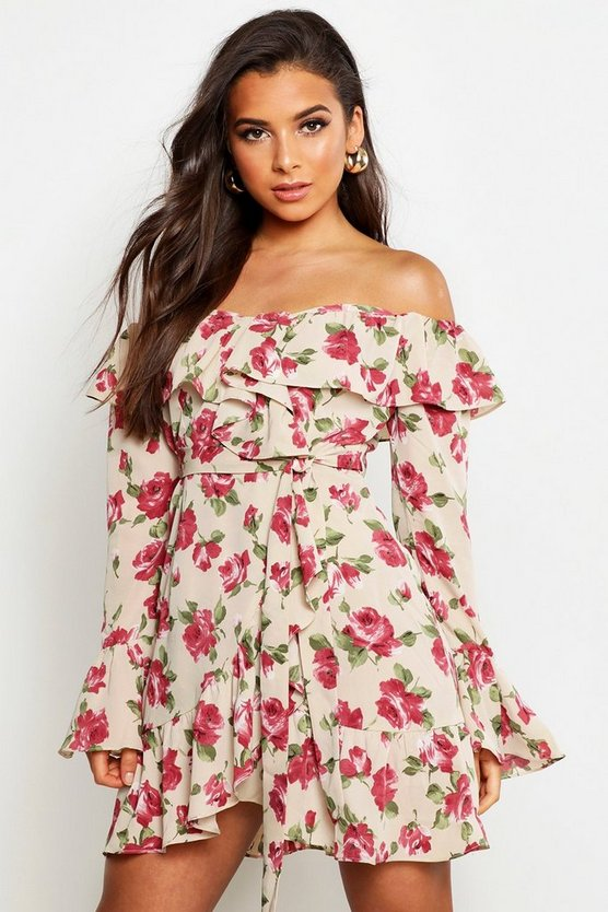 Stone Woven Rose Print Ruffle Mini Dress