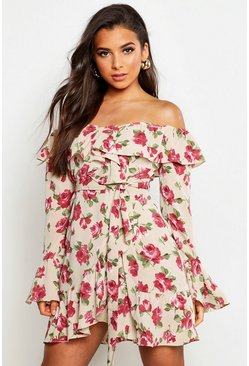 Womens Stone Woven Rose Print Ruffle Mini Dress