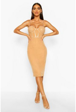 Womens Camel Mesh PU Corset Midi Dress