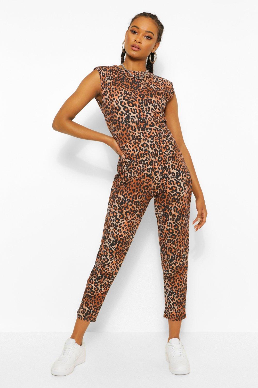 1980s Clothing, Fashion   80s Style Clothes Womens Leopard Print Shoulder Pad Unitard Jumpsuit - Brown - 12 $15.20 AT vintagedancer.com
