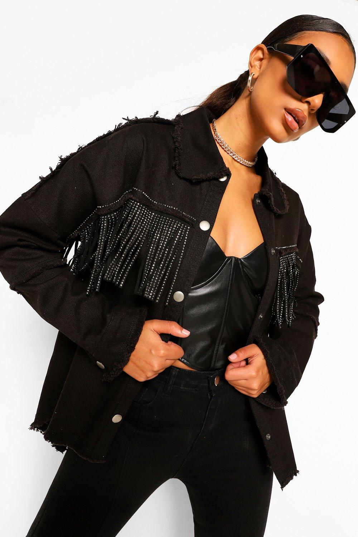 80s Windbreakers, Jackets, Coats | 90s Outerwear Womens Fringe Jean Jacket - Black - 10 $25.60 AT vintagedancer.com