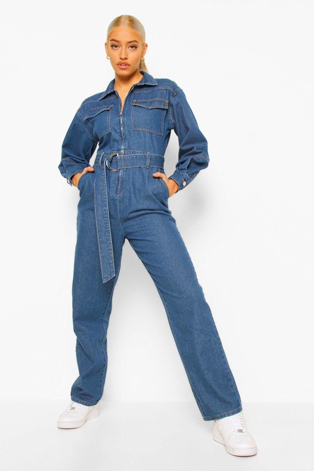 1940s Style Clothing & 40s Fashion Womens Balloon Sleeve Belted Denim Jumpsuit - Blue - 12 $25.00 AT vintagedancer.com