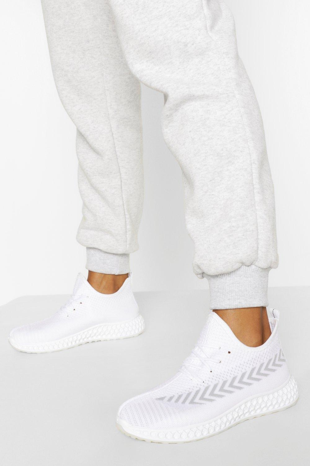 womens stripe detail knitted running sneakers - white - 5