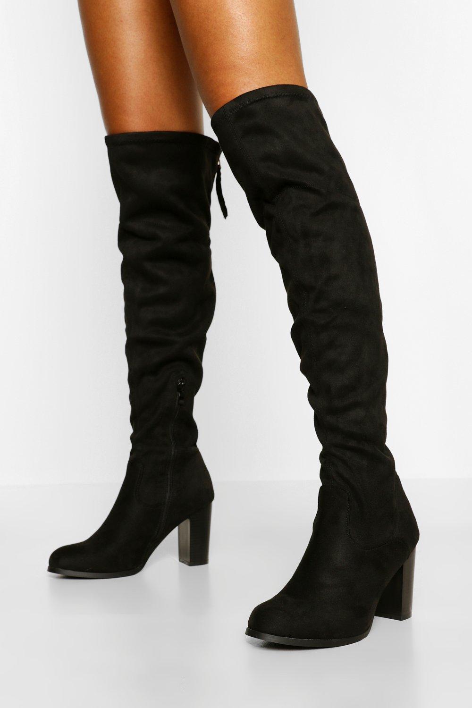 60s Shoes, Boots Womens Block Heel Zip Back Over The Knee Boots - Black - 10 $42.00 AT vintagedancer.com