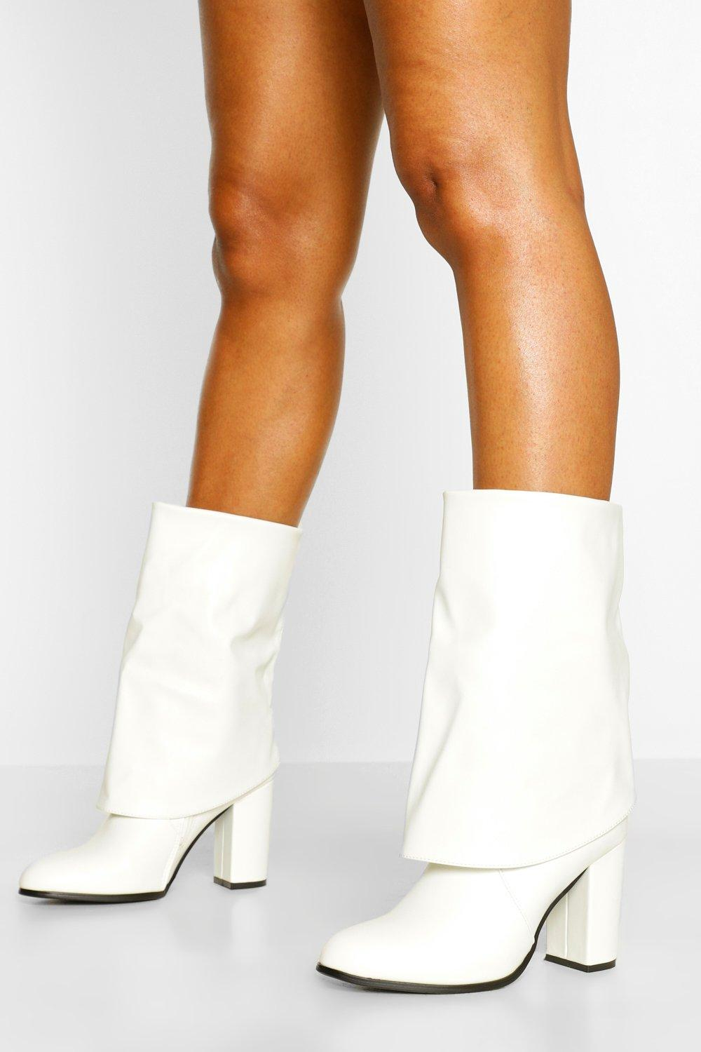Vintage Boots, Retro Boots Womens Fold Over Block Heel Knee Boots - White - 10 $30.00 AT vintagedancer.com
