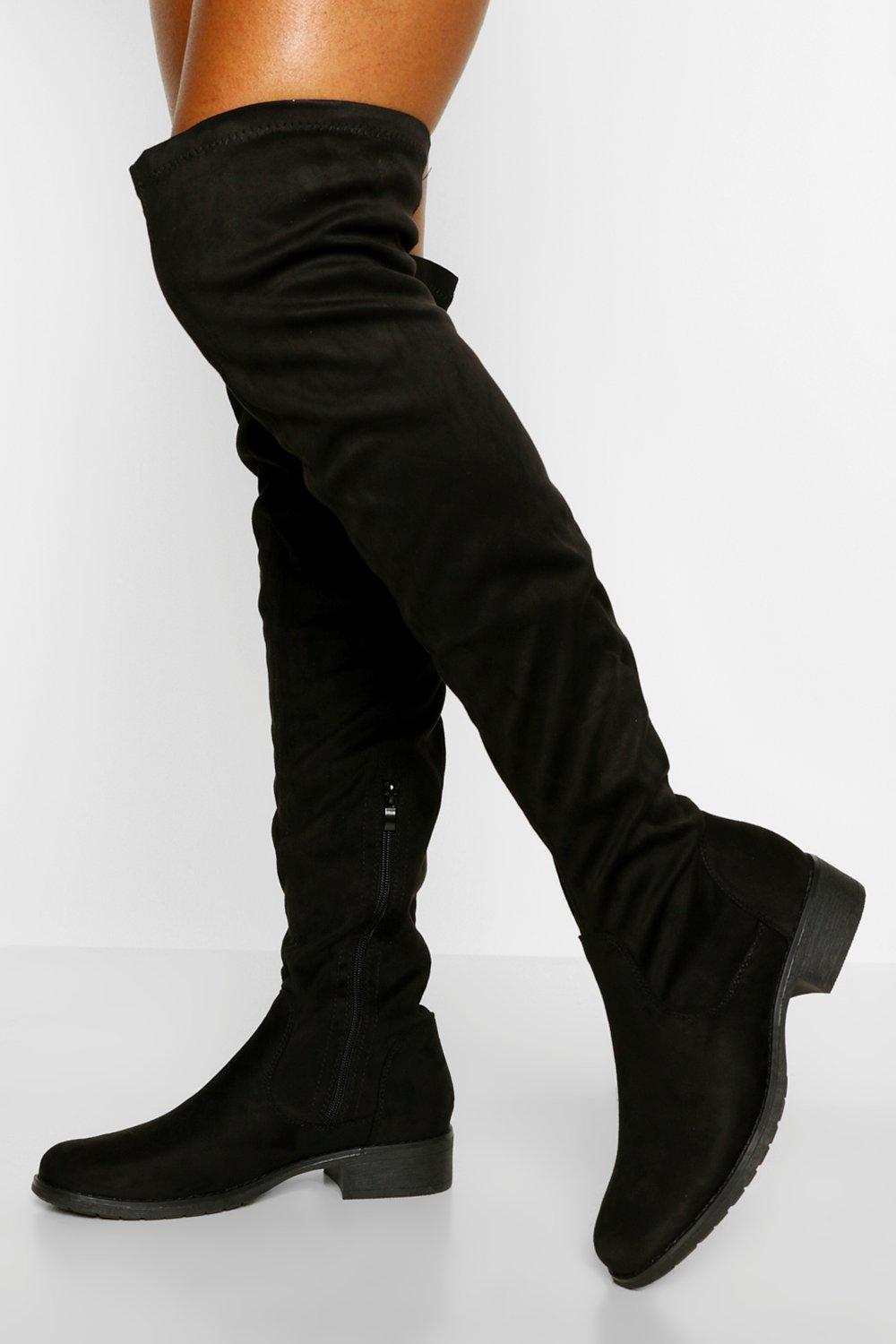 70s Shoes, Platforms, Boots, Heels | 1970s Shoes Womens Flat Over The Knee Boots - Black - 10 $33.00 AT vintagedancer.com