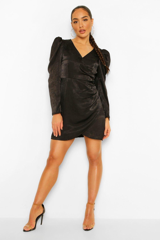 80s Dresses   Casual to Party Dresses Womens Satin Puff Sleeve Draped Mini Dress - Black - 10 $20.00 AT vintagedancer.com
