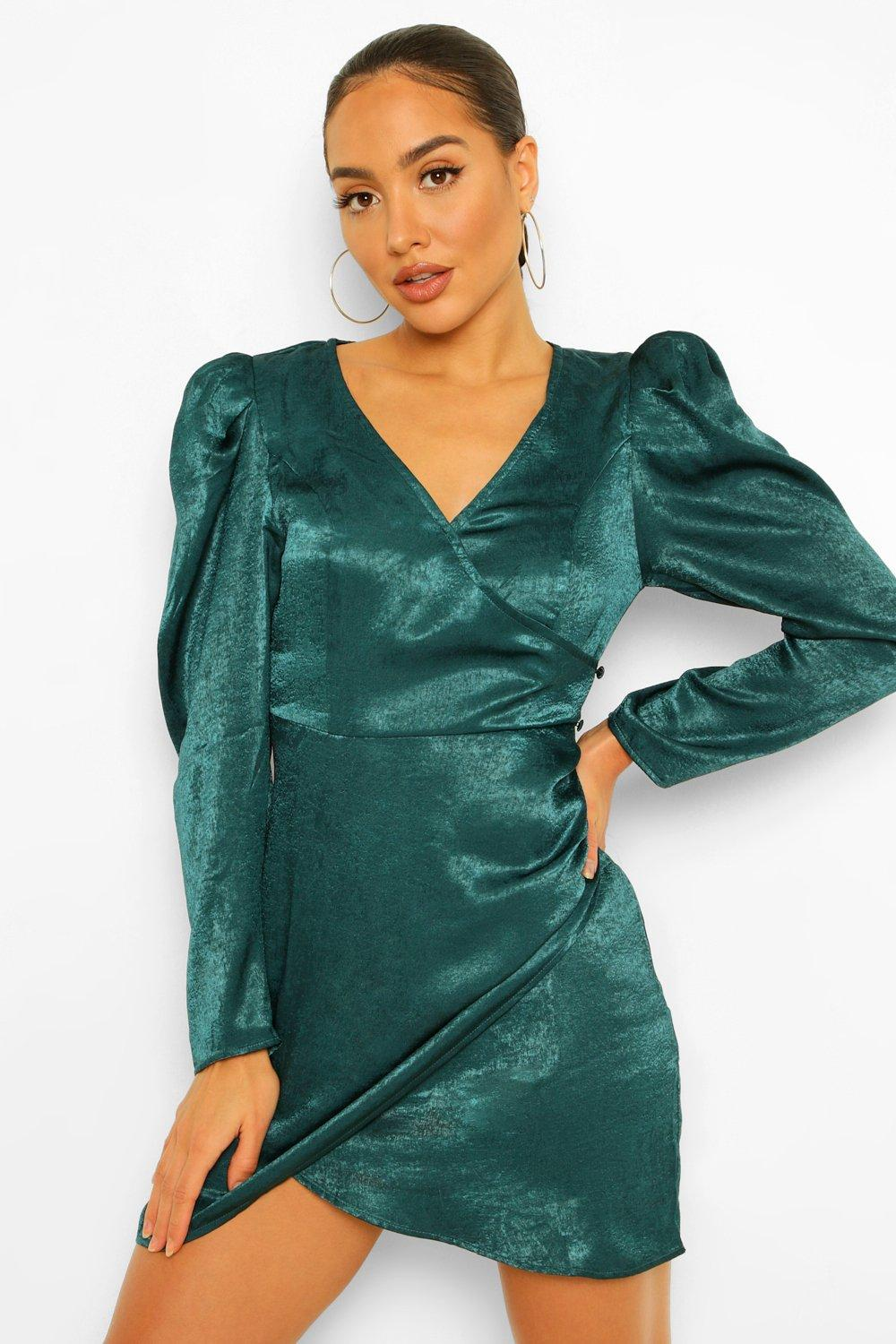 80s Dresses   Casual to Party Dresses Womens Satin Puff Sleeve Draped Mini Dress - Green - 8 $20.00 AT vintagedancer.com