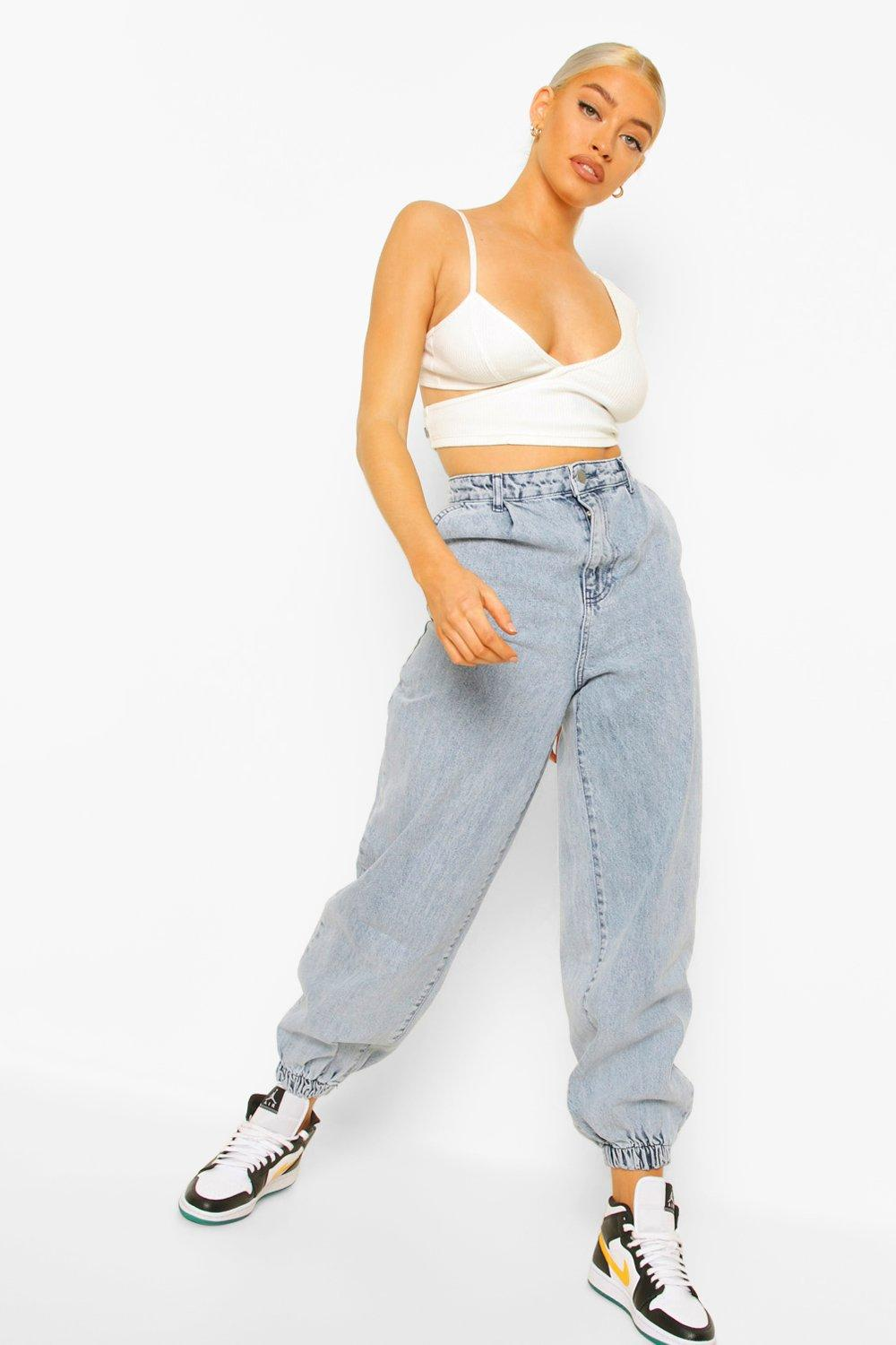 1980s Clothing, Fashion | 80s Style Clothes Womens Acid Wash Cuffed Extreme Jogger Jeans - Grey - 12 $24.00 AT vintagedancer.com