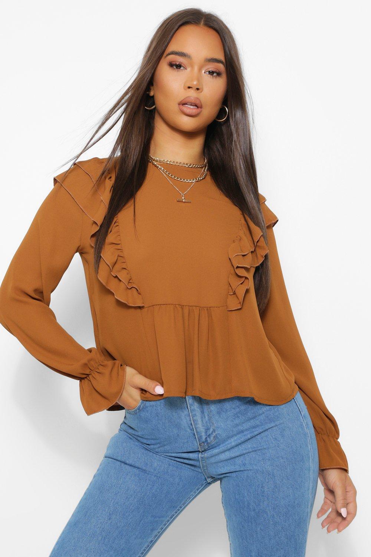 womens woven ruffle shoulder smock top - orange - 2