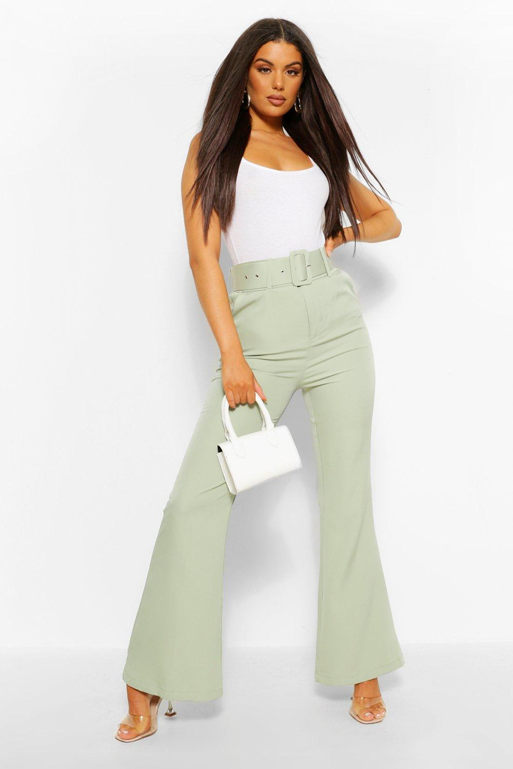 60s – 70s Pants, Jeans, Hippie, Bell Bottoms, Jumpsuits Womens Self Fabric Belted Kick Flare Tailored Trouser - Green - M $21.00 AT vintagedancer.com