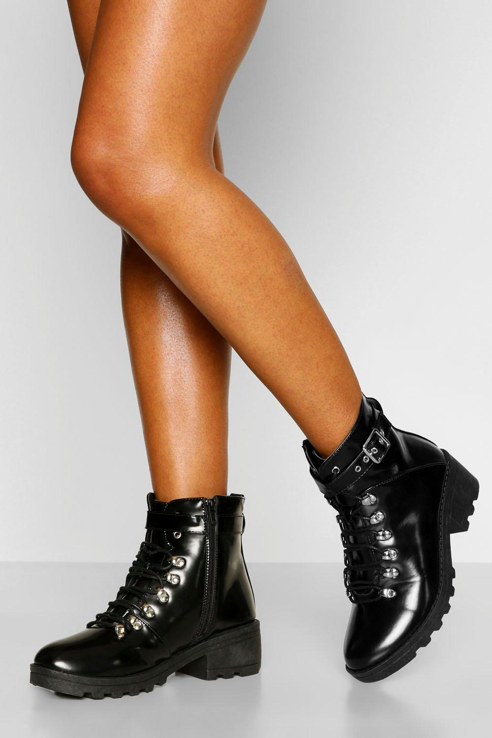 Womens Buckle Strap Chunky Hiker Boots - Black - 3