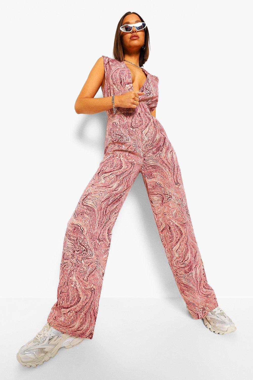 70s Jumpsuit | Disco Jumpsuits, Sequin Rompers Womens Marble Print Plunge Wide Leg Jumpsuit - Pink - 10 $20.80 AT vintagedancer.com