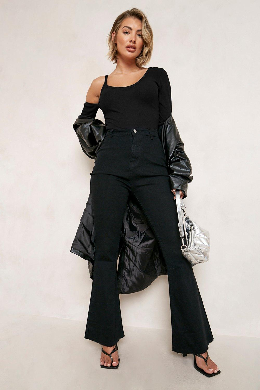 60s Pants, Jeans, Hippie, Flares, Jumpsuits Womens Stretch Denim Flare Jeans - Black - 12 $22.40 AT vintagedancer.com