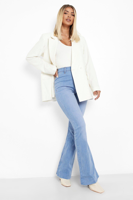 60s Pants, Jeans, Hippie, Flares, Jumpsuits Womens Stretch Denim Flare Jeans - Blue - 12 $22.40 AT vintagedancer.com