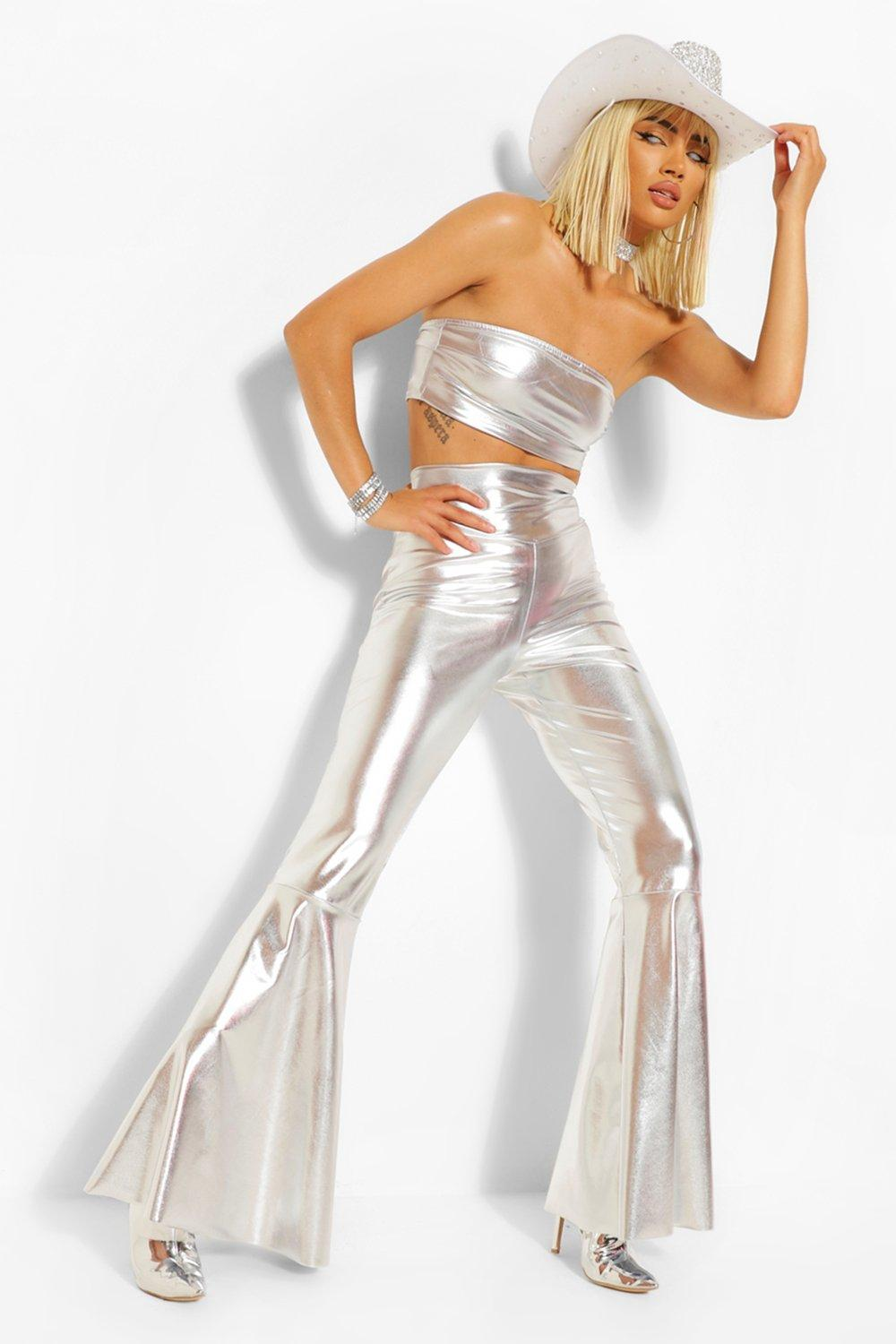 70s Clothes | Hippie Clothes & Outfits Womens Halloween Metallic Extreme Flare - Grey - 12 $19.60 AT vintagedancer.com