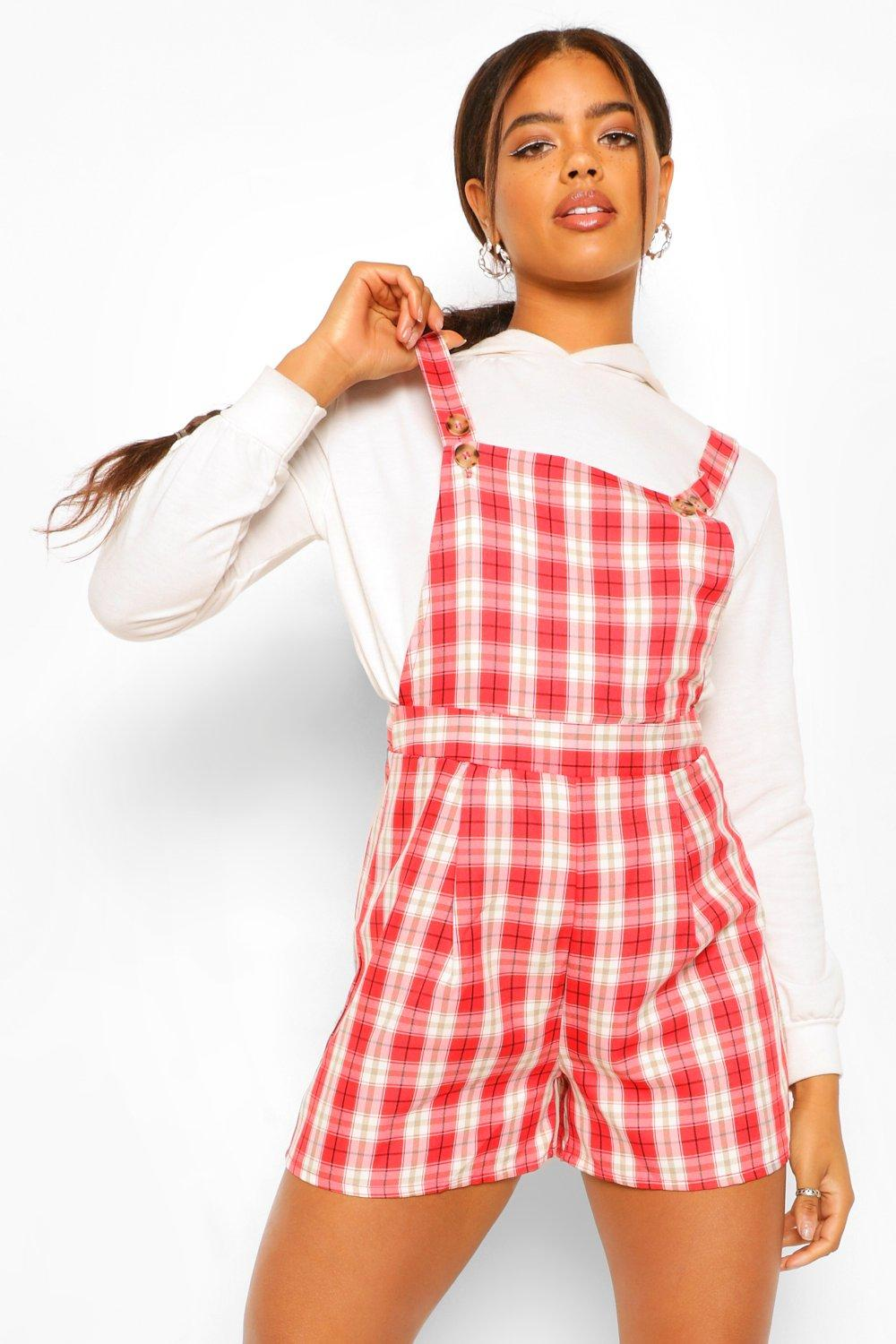 40s-50s Vintage Playsuits, Jumpsuits, Rompers History Womens Woven Flannel Pinafore Pleat Hem Romper - Red - 12 $16.00 AT vintagedancer.com