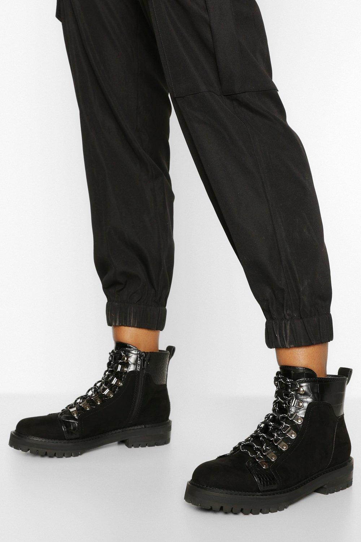 Womens Croc Panel Chunky Hiker Boots - Black - 3