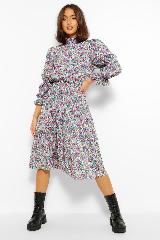 womens floral high neck puff sleeve skater dress - purple - 6