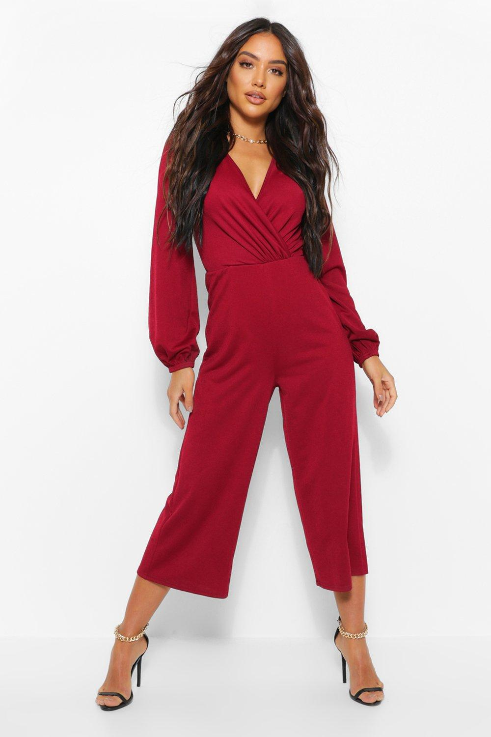 1980s Clothing, Fashion   80s Style Clothes Womens Wrap Long Sleeve Culotte Jumpsuit - Red - 10 $14.00 AT vintagedancer.com