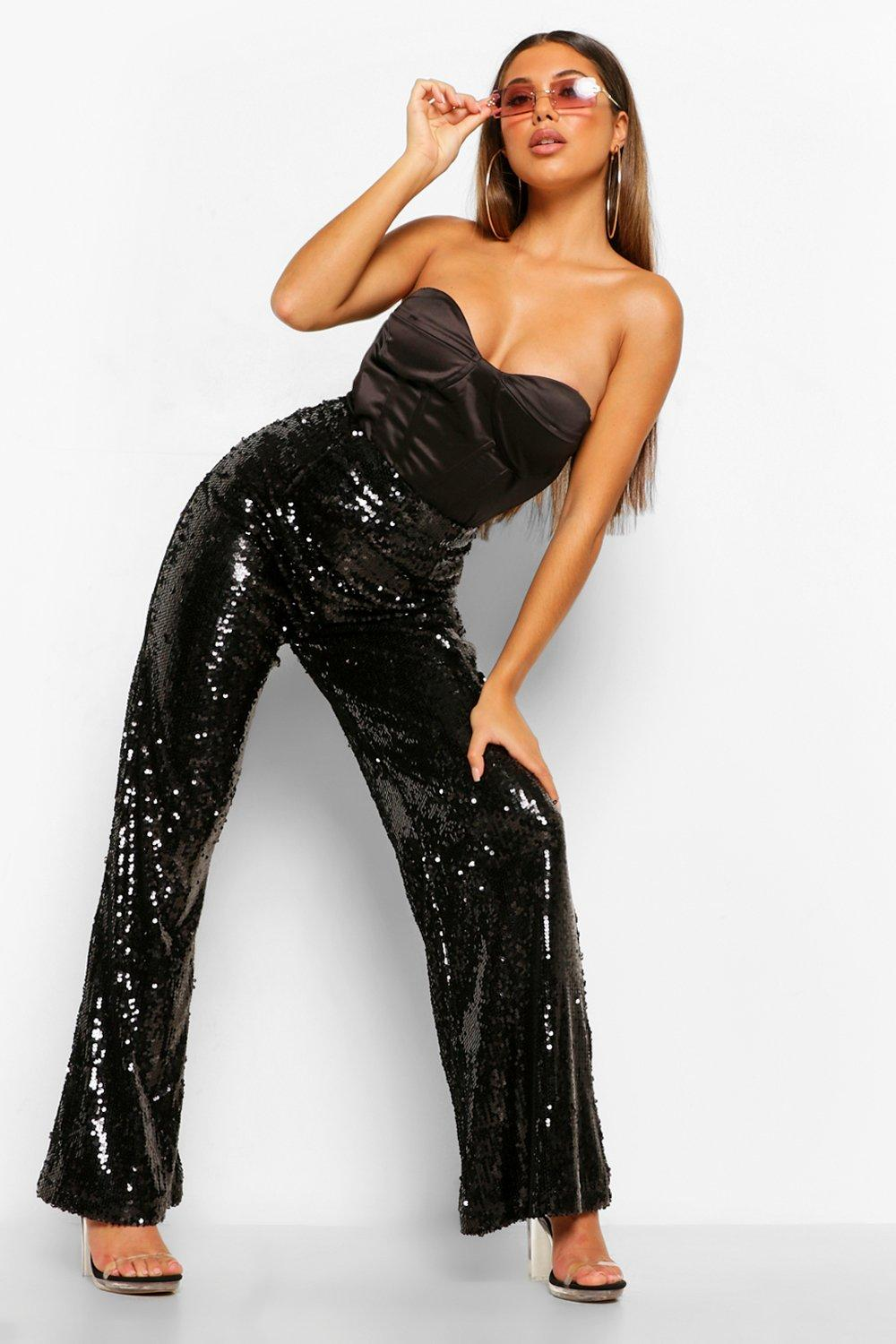 70s Outfits – 70s Style Ideas for Women Womens Shiny Sequin Wide Leg Pants - Black - 10 $45.00 AT vintagedancer.com