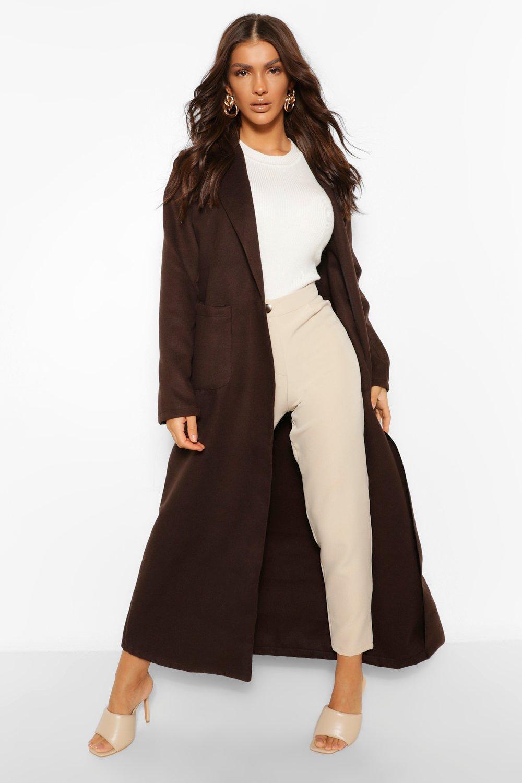 Vintage Coats & Jackets | Retro Coats and Jackets Womens Maxi Length Wool Look Coat - Brown - 6 $45.00 AT vintagedancer.com
