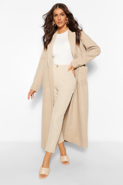 1920s Coats, Flapper Coats, 20s Jackets Womens Maxi Length Wool Look Coat - Beige - 6 $45.00 AT vintagedancer.com