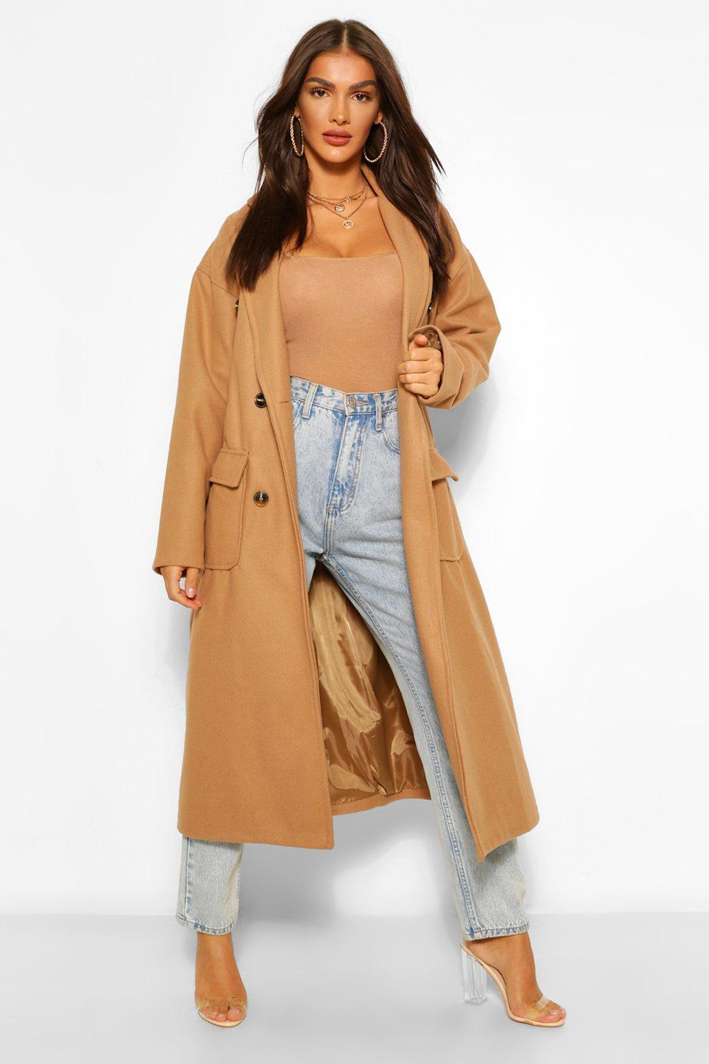 Vintage Coats & Jackets | Retro Coats and Jackets Womens Double Breasted Belted Wool Look Coat - Beige - 12 $45.00 AT vintagedancer.com