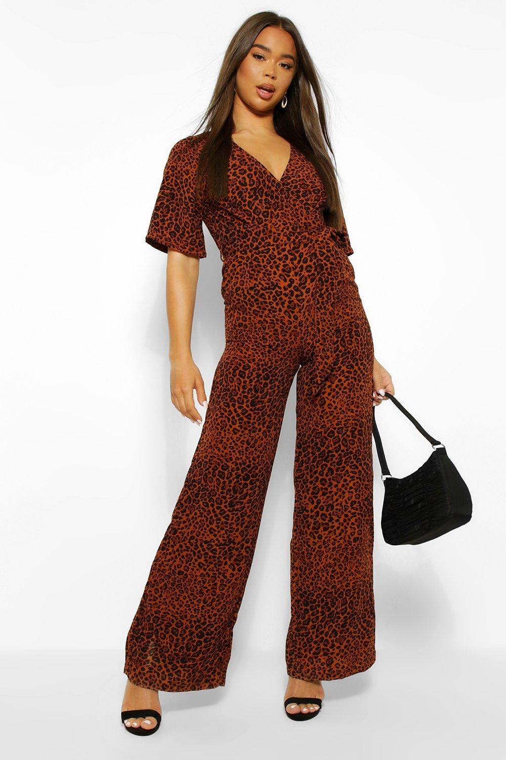 womens leopard print wtap belted kimono sleeve jumpsuit - brown - 8