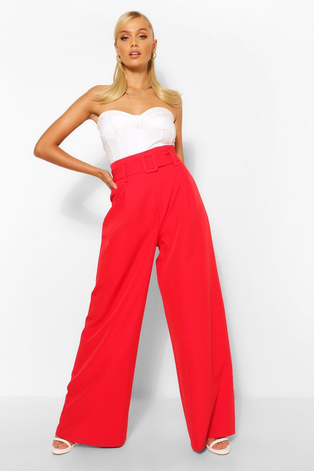 1930s Wide Leg Pants and Beach Pajamas Womens Super Wide Leg Belted Pants - Red - 10 $24.00 AT vintagedancer.com