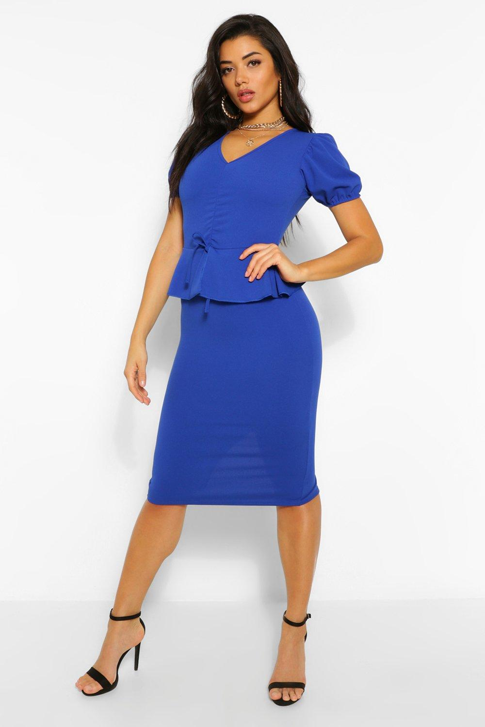 Vintage Style Dresses | Vintage Inspired Dresses Womens Rouched Peplum Detail Midi Dress - Blue - 14 $35.00 AT vintagedancer.com
