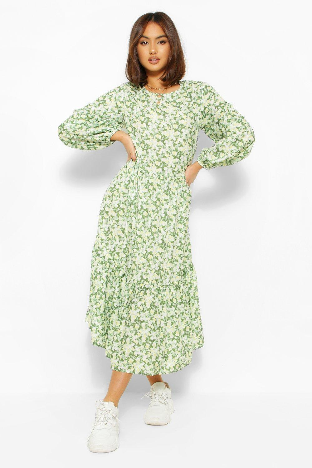 70s Dresses – Disco Dress, Hippie Dress, Wrap Dress Womens Oversized Balloon Sleeve Midaxi Dress - Green - 14 $31.50 AT vintagedancer.com