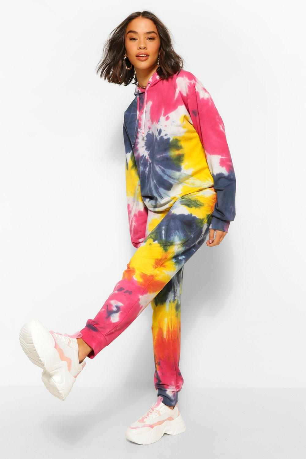 70s Workout Clothes   80s Tracksuits, Running Shorts, Leotards Womens Tie Dye Jogger - Red - 10 $16.80 AT vintagedancer.com