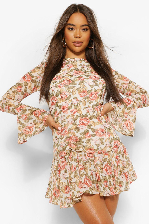 womens floral flare cuff mini dress - white - 12