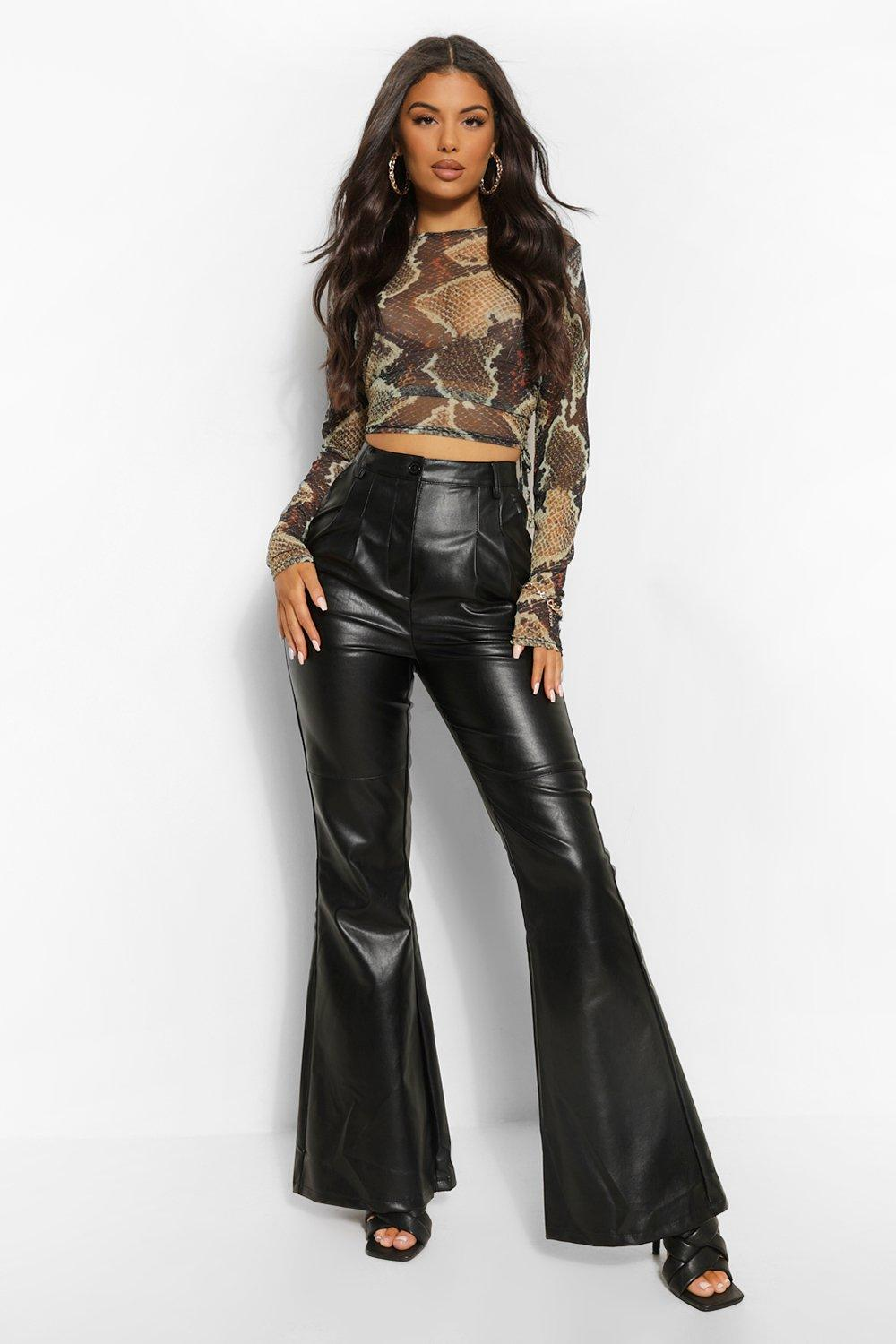 60s – 70s Pants, Jeans, Hippie, Bell Bottoms, Jumpsuits Womens High Waist Leather Look Flare - Black - 12 $24.00 AT vintagedancer.com