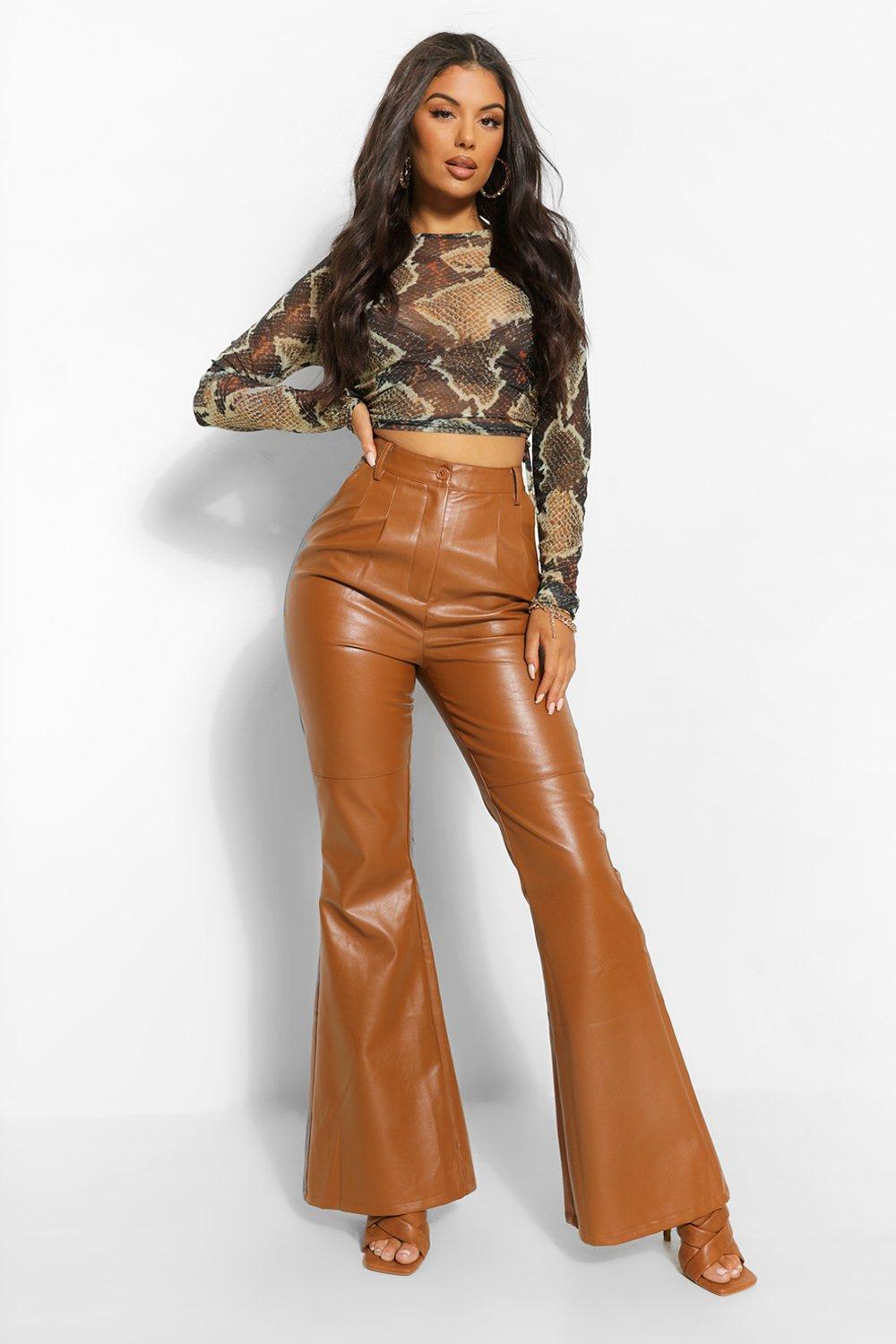 Vintage High Waisted Trousers, Sailor Pants, Jeans Womens High Waist Leather Look Flare - Brown - 12 $24.00 AT vintagedancer.com