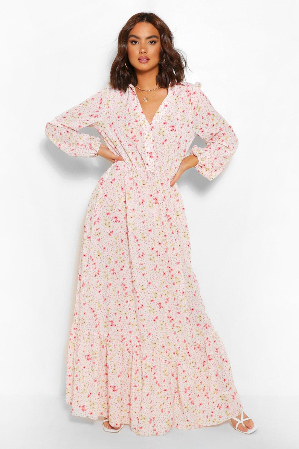 80s Dresses | Casual to Party Dresses Womens Floral Button Down Maxi Dress - White - 10 $24.00 AT vintagedancer.com