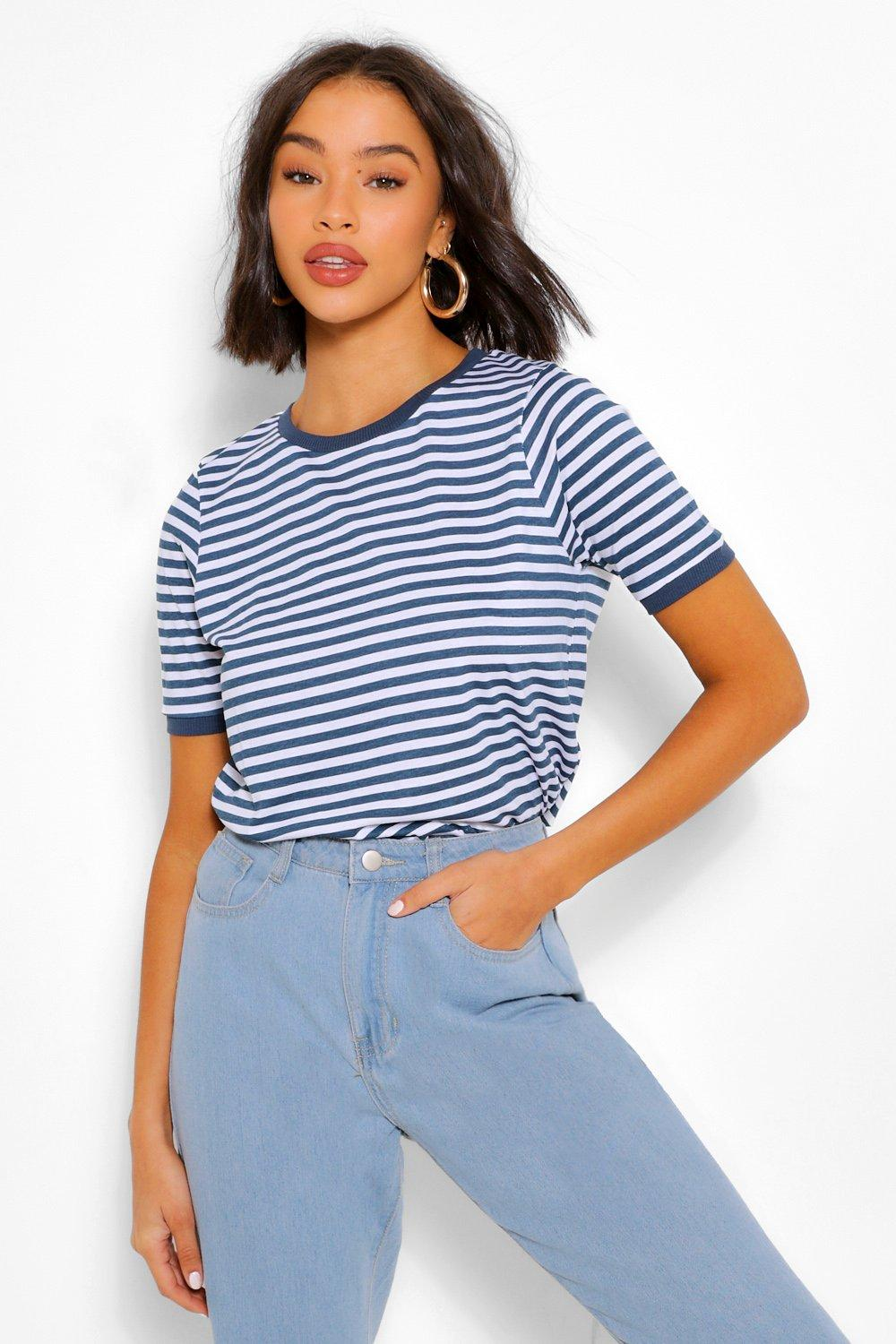 1940s Blouses and Tops Womens Stripe Ringer T Shirt - Navy - M $8.40 AT vintagedancer.com