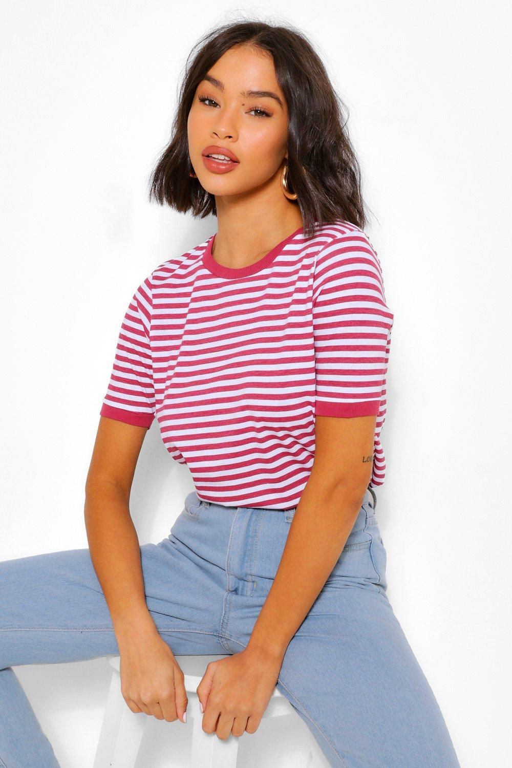 1940s Blouses and Tops Womens Stripe Ringer T Shirt - Red - M $8.40 AT vintagedancer.com