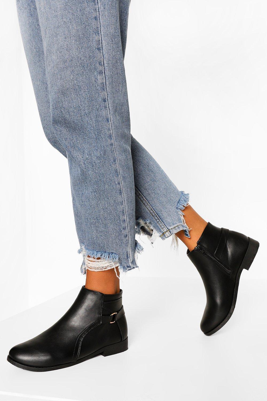 Womens D Ring Flat Chelsea Boots - Black - 3