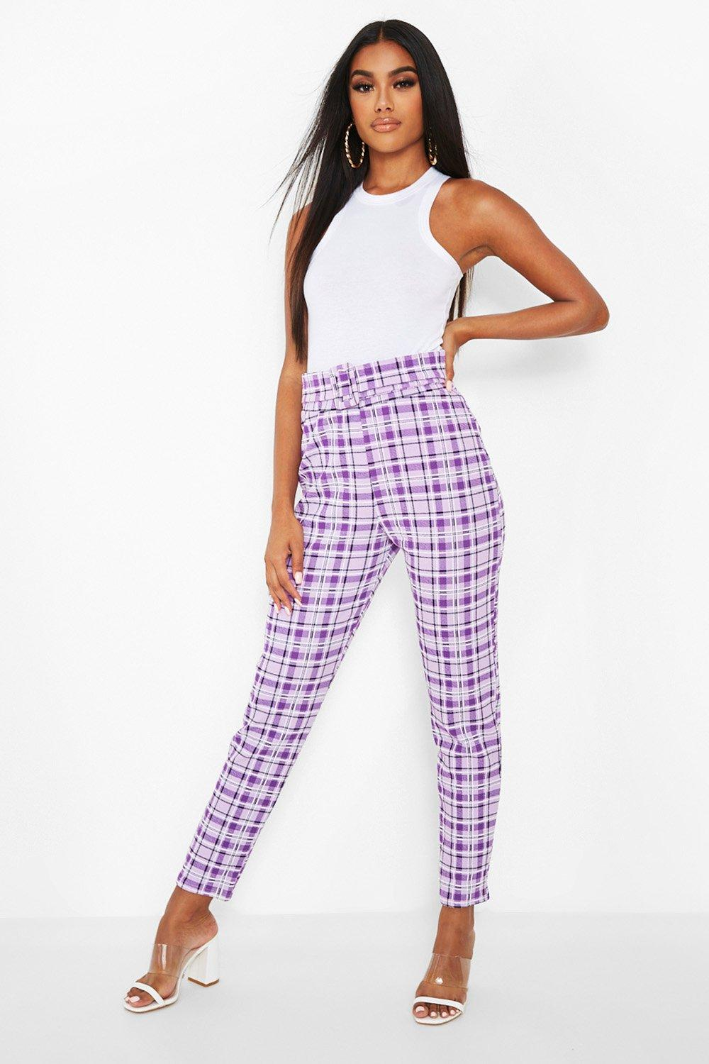 Vintage High Waisted Trousers, Sailor Pants, Jeans Womens Flanneled Belted Skinny Pants - Purple - 12 $16.80 AT vintagedancer.com
