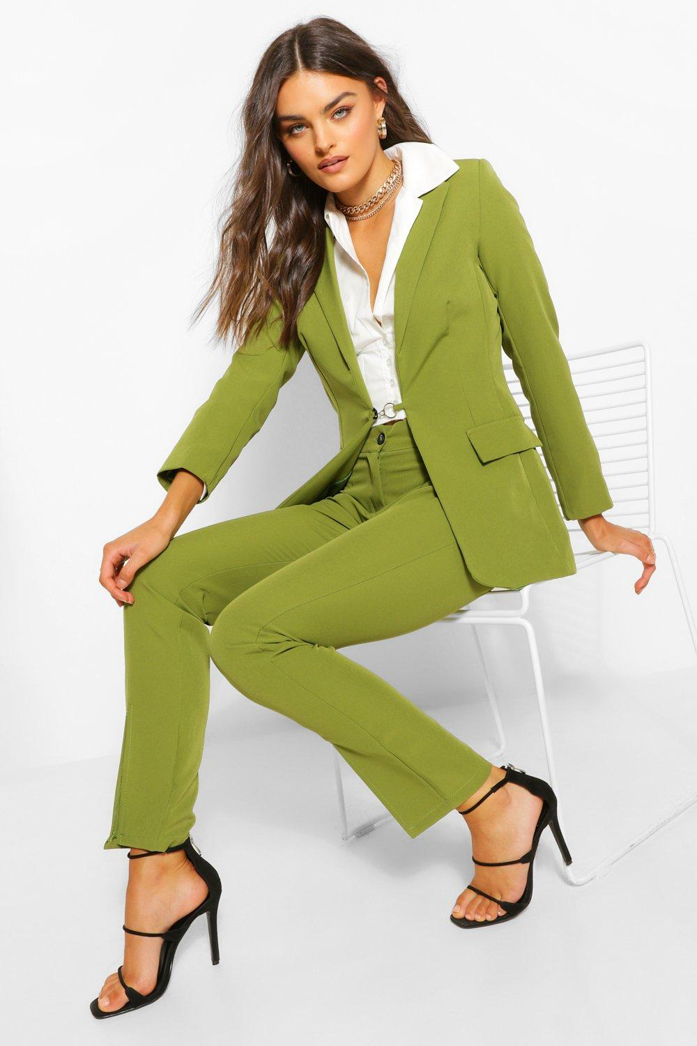 Vintage Suits Women | Work Wear & Office Wear Womens Tailored Split Front Skinny Trouser - Green - 10 $22.00 AT vintagedancer.com