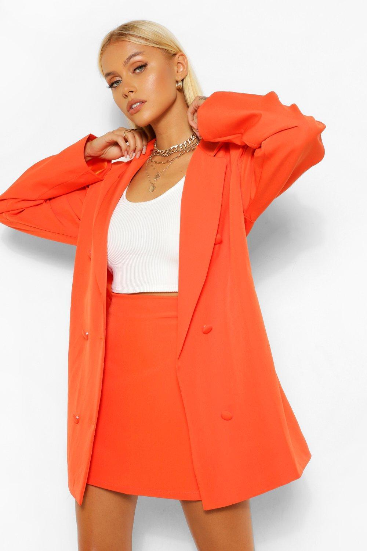 womens tailored long line oversized dad blazer - orange - 4