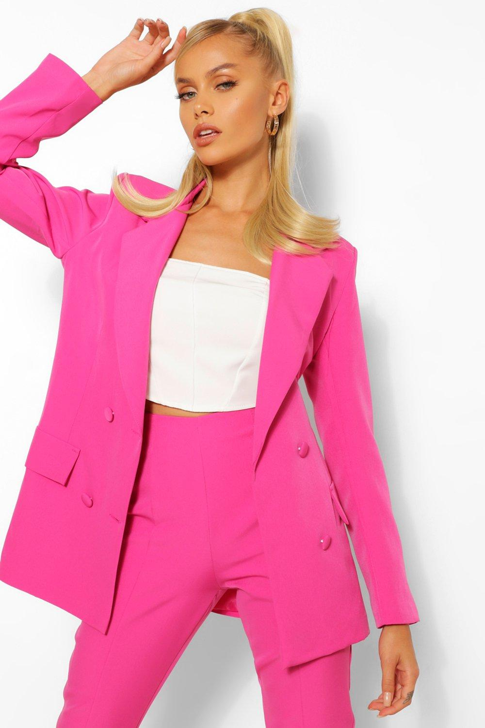 80s Windbreakers, Jackets, Coats Womens Woven Double Breasted Pocket Blazer - Pink - 10 $28.00 AT vintagedancer.com