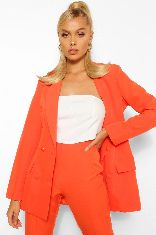70s Jackets, Furs, Vests, Ponchos Womens Woven Double Breasted Pocket Blazer - Orange - 10 $50.00 AT vintagedancer.com