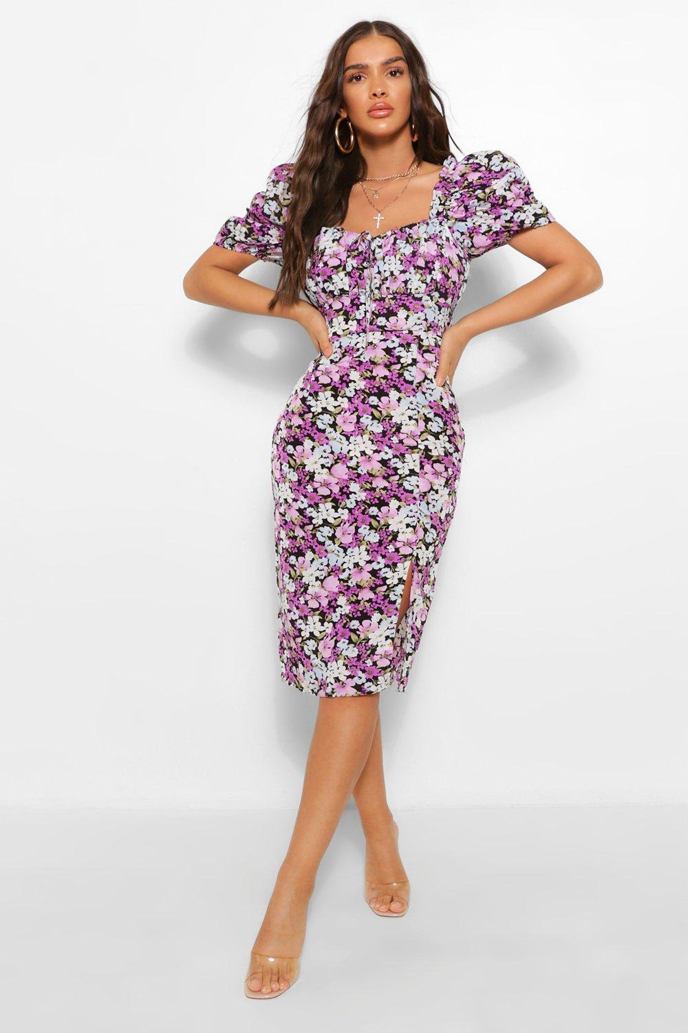 80s Dresses | Casual to Party Dresses Womens Floral Rouched Bust Puff Sleeve Midi Dress - Purple - 14 $24.00 AT vintagedancer.com