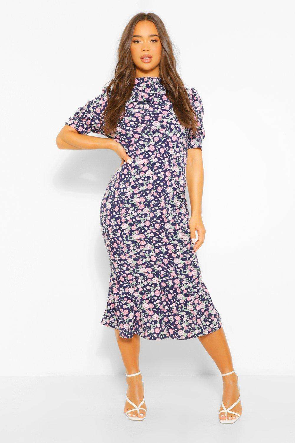 1930s Style Clothing and Fashion Womens Floral Draped Puff Sleeve Midaxi Dress - Navy - 14 $18.00 AT vintagedancer.com